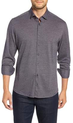 Stone Rose Trim Fit Jacquard Knit Sport Shirt