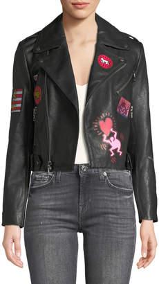 Alice + Olivia Keith Haring x Cody Cropped Leather Moto Jacket