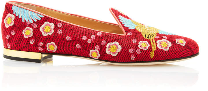 Charlotte Olympia Charlotte Olympia M'O Exclusive: Cherry Blossom Embroidered Canvas Slippers