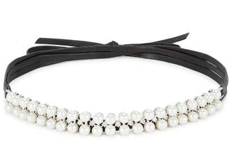 Fallon Monarch Crystal-embellished Leather Wrap Choker