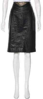 Tamara Mellon Leather Studded Skirt