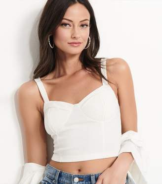 Dynamite Knitted Bustier Crop Top - FINAL SALE SNOW WHITE