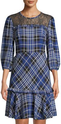 Donna Morgan Lace Illusion Plaid A-Line Dress