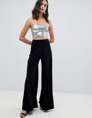 Miss Selfridge wide leg velvet PANTS in black