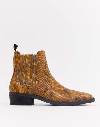 Selected Leather Snake Western Ankle Boots