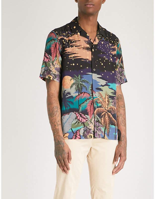 Night-print regular-fit cotton shirt