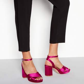 Faith Pink Satin 'Worothy'áHigh Platform Heel Sandals