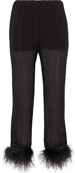 Prada - Feather-trimmed Silk-georgette Straight-leg Pants - Black
