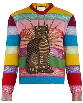 Gucci Cat Applique Panelled Lace And Wool Sweater - Womens - Multi