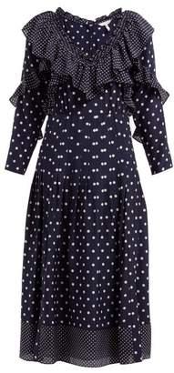 Rebecca Taylor Polka Dot Print Ruffled Silk Dress - Womens - Navy White