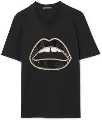 Markus Lupfer Sequin-embellished Cotton-jersey T-shirt - Black