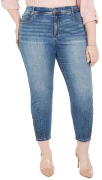 INC International Concepts I.n.c. Plus Size Rhinestone Ankle Skinny Jeans, Created For Macy's