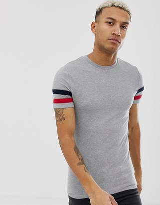 c93285198920 Asos Design DESIGN organic cotton muscle fit t-shirt with stretch and contrast  sleeve stripe