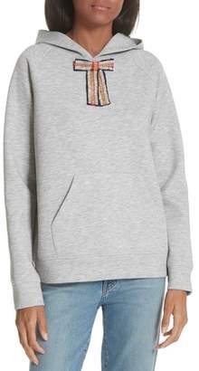 Maje Jewel Bow Hoodie Sweatshirt