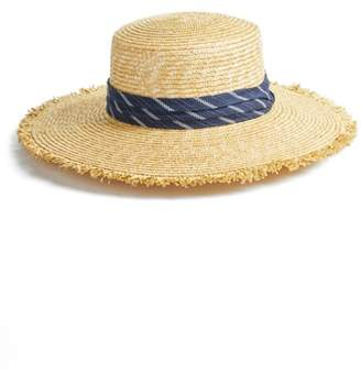 BCBGMAXAZRIA Denim Banded Straw Boater Hat