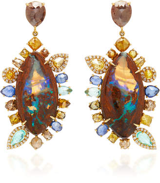 Nina Runsdorf M'O Exclusive: One-Of-A-Kind Yahweh Opal Earrings With Fancy Color Diamond