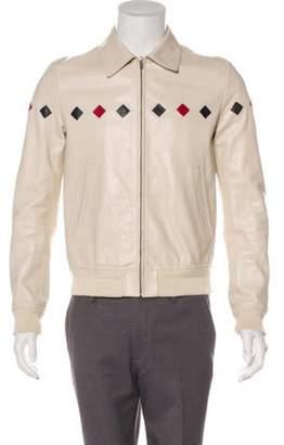 Saint Laurent 2019 Teddy Diamond Leather Varsity Jacket red 2019 Teddy Diamond Leather Varsity Jacket