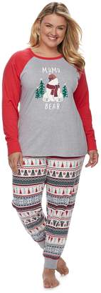 "Cuddl Duds Plus Size Jammies For Your Families Polar Bear Fairisle Family Pajamas ""Mama Bear"" Top & Bottoms Set"