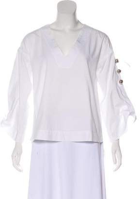 Prabal Gurung Long Sleeve V-Neck Blouse