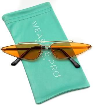 Cat Eye WearMe Pro - Tinted Lens Thin Small Metal Frame Cateye Sunglasses