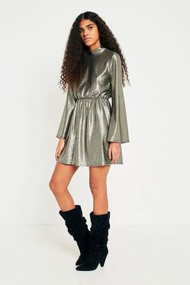 Pins & Needles Gold Metallic Flute Sleeve Tunic Dress