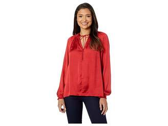 Lucky Brand Satin Peasant Top
