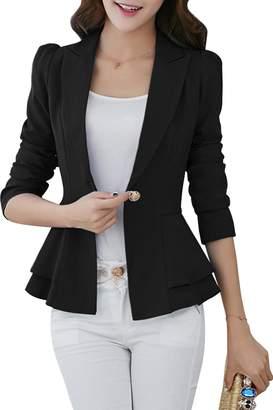 YMING Women's Washable Suiting Short Single Button Jacket ,XXS