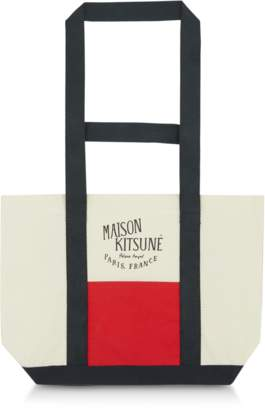 MAISON KITSUNÉ Color Block Canvas Small Tote Bag