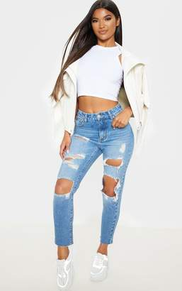 PrettyLittleThing Mid Wash Extreme Distressed Mom Jean
