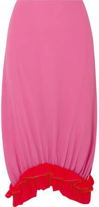 Marni Ruffled Crepe De Chine Midi Skirt - Pink