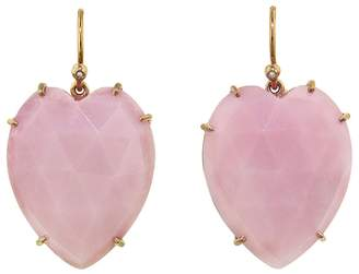 Irene Neuwirth Rose Cut Pink Opal Heart Earrings - Rose Gold