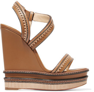 Christian Louboutin Trepi 140 scalloped leather wedge sandals $750 thestylecure.com