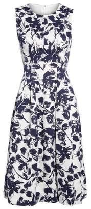 Eliza J Floral Print Faille Midi Dress