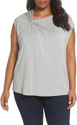 Sejour Twisted Neck Cap Sleeve Top