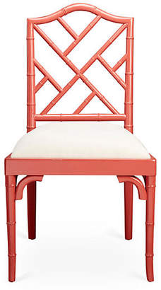 One Kings Lane Mae Bamboo Side Chair - Coral/White Linen