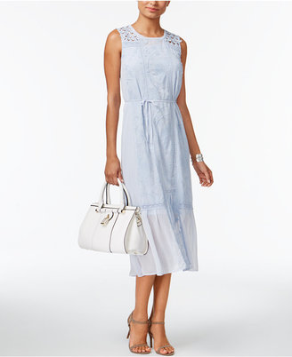 Chelsea and Theodore Embroidered Mixed-Media Dress $128 thestylecure.com