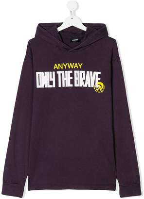 Diesel TEEN slogan-print hooded T-shirt