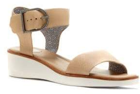 ED Ellen Degeneres Stella Tumbled Leather Wedge Sandals