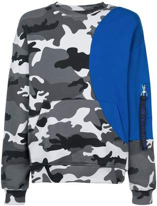 Mostly Heard Rarely Seen camouflage colour block sweatshirt