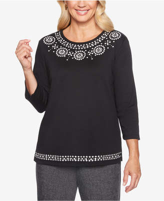 Alfred Dunner Finishing Touches Beaded Medallion Top