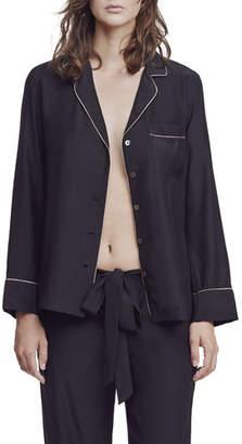 Kiki de Montparnasse Long-Sleeve Silk Pajama Top