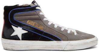 Golden Goose Grey Suede Slide High-Top Sneakers