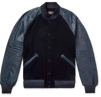 Cotton-Blend And Distressed Leather Bomber Jacket