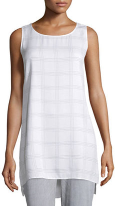 Eileen Fisher Sleeveless Plaid Silk Tunic, Ash, Petite $278 thestylecure.com