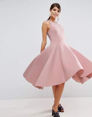 ASOS SALON Scuba Pinny Paneled Prom Midi Dress $135 thestylecure.com