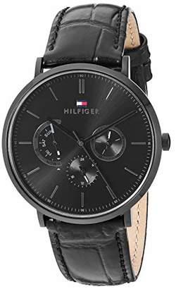 Tommy Hilfiger Men's Stainless Steel Quartz Watch with Leather Calfskin Strap