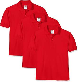 e42775a978b2a Fruit of the Loom Unisex Kids 65 35 Short Sleeve Polo Shirt Pack of 3