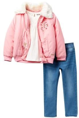 Hudson Bomber Faux Fur Jacket 3-Piece Set (Toddler Girls)