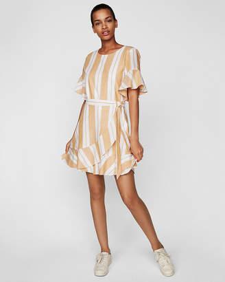 Express Petite Striped Wrap Front Dress