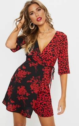 PrettyLittleThing Red V Neck Mixed Print Tea Dress